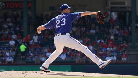 <p>               Texas Rangers starting pitcher Mike Minor (23) throws a pitch during the first inning of a baseball game against the Boston Red Sox on Thursday, Sept. 26, 2019, in Arlington, Texas. (AP Photo/Louis DeLuca)             </p>