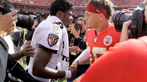 <p>               Kansas City Chiefs quarterback Patrick Mahomes, right, and Baltimore Ravens quarterback Lamar Jackson (8) greet each other after their NFL football game Sunday, Sept. 22, 2019, in Kansas City, Mo. (AP Photo/Charlie Riedel)             </p>