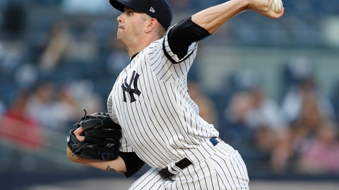<p>               New York Yankees starting pitcher James Paxton throws during the first inning of the team's baseball game against the Texas Rangers, Tuesday, Sept. 3, 2019, in New York. (AP Photo/Kathy Willens)             </p>