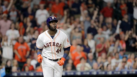 <p>               Houston Astros' Yordan Alvarez (44) watches his home run against the Oakland Athletics during the second inning of a baseball game Monday, Sept. 9, 2019, in Houston. (AP Photo/David J. Phillip)             </p>