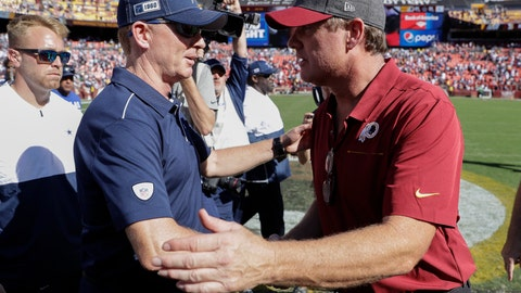<p>               Dallas Cowboys head coach Jason Garrett, left, and Washington Redskins head coach Jay Gruden, right, meeting on the field after the end of an NFL football game, Sunday, Sept. 15, 2019, in Landover, Md. Dallas won 31-21. (AP Photo/Evan Vucci)             </p>
