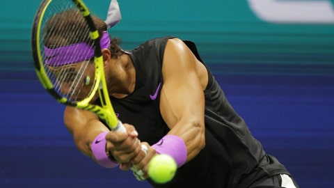 <p>               Rafael Nadal, of Spain, returns a shot to Matteo Berrettini, of Italy, during the men's singles semifinals of the U.S. Open tennis championships Friday, Sept. 6, 2019, in New York. (AP Photo/Charles Krupa)             </p>