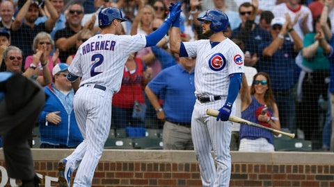 <p>               Chicago Cubs' Nico Hoerner (2) celebrates with teammate David Bote right, after hitting a two-run home run during the first inning of a baseball game against the Pittsburgh Pirates, Friday, Sept. 13, 2019, in Chicago. (AP Photo/Paul Beaty)             </p>
