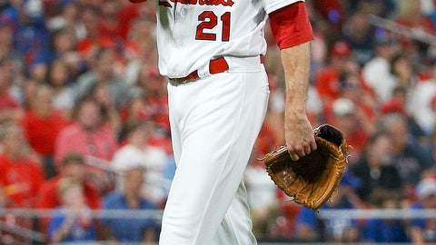 <p>               St. Louis Cardinals relief pitcher Andrew Miller walks toward the dugout after being relieved from the mound during the seventh inning of a baseball game against the Chicago Cubs, Friday, Sept. 27, 2019, in St. Louis. (AP Photo/Scott Kane)             </p>