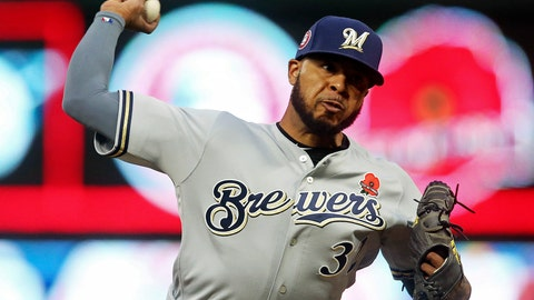 <p>               FILE -In this May 27, 2019 file photo Milwaukee Brewers relief pitcher Jeremy Jeffress throws against the Minnesota Twins in the fifth inning of a baseball game in Minneapolis.  Milwaukee has designated Jeremy Jeffress for assignment after the reliever played a key role in the Brewers' run to the NL Championship Series last year. (AP Photo/Jim Mone, file)             </p>