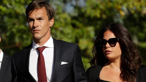 <p>               Danish golfer and Ryder Cup winner Thorbjorn Olesen, left, arrives at Isleworth Crown Court in London, Wednesday, Sept. 18, 2019, after being charged with sexual assault, being drunk on an aircraft and common assault. Olesen was arrested on 29 July after returning from the WGC St Jude Invitational on a flight from Nashville to London. Police were waiting for the 29-year-old when the aircraft landed at Heathrow. (AP Photo/Matt Dunham)             </p>