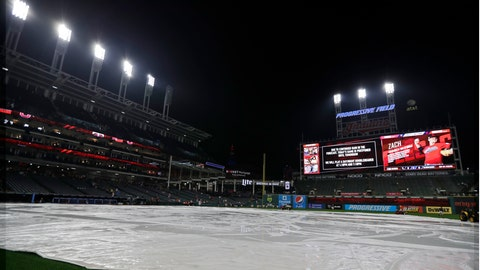 <p>               The tarp rests on the field after a baseball game between the Minnesota Twins and the Cleveland Indians is postponed due to the weather, Friday, Sept. 13, 2019, in Cleveland. The Indians and Twins will play a doubleheader on Saturday. (AP Photo/Tony Dejak)             </p>