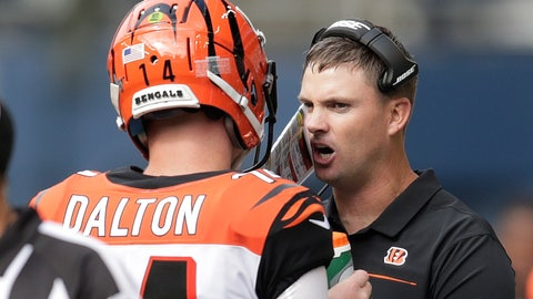 <p>               Cincinnati Bengals head coach Zac Taylor, right, talks with quarterback Andy Dalton, left, during the second half of an NFL football game against the Seattle Seahawks, Sunday, Sept. 8, 2019, in Seattle. (AP Photo/Stephen Brashear)             </p>
