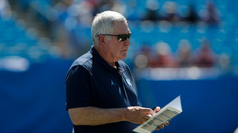 <p>               North Carolina head coach Mack Brown watches his team warm up prior to an NCAA college football game against South Carolina in Charlotte, N.C., Saturday, Aug. 31, 2019. (AP Photo/Nell Redmond)             </p>