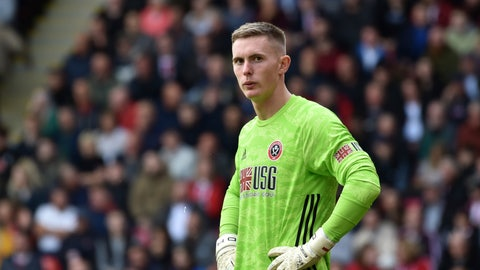 <p>               Sheffield United's goalkeeper Dean Henderson reacts during the English Premier League soccer match between Sheffield United and Liverpool at Bramall Lane in Sheffield, England, Saturday, Sept. 28, 2019. (AP Photo/Rui Vieira)             </p>