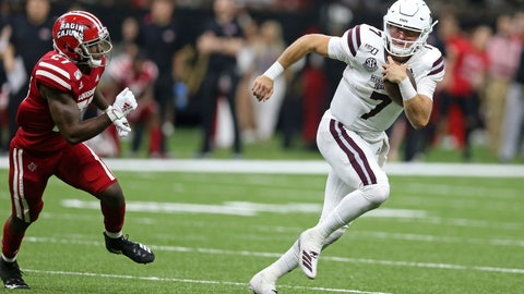 <p>               Mississippi State quarterback Tommy Stevens (7) is pursued by Louisiana-Lafayette defensive back Cameron Solomon (27) in the second half of an NCAA college football game in New Orleans, Saturday, Aug. 31, 2019. Mississippi State won, 38-28. (AP Photo/Chuck Cook)             </p>
