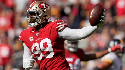 <p>               San Francisco 49ers defensive tackle DeForest Buckner (99) celebrates after recovering a fumble against the Pittsburgh Steelers during the second half of an NFL football game in Santa Clara, Calif., Sunday, Sept. 22, 2019. (AP Photo/Tony Avelar)             </p>