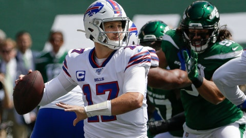 <p>               Buffalo Bills quarterback Josh Allen (17) throws a pass during the first half of an NFL football game against the New York Jets Sunday, Sept. 8, 2019, in East Rutherford, N.J. (AP Photo/Seth Wenig)             </p>