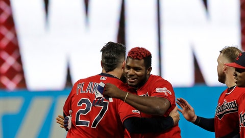 <p>               Cleveland Indians' Yasiel Puig, right, is hugged by Kevin Plawecki after Puig hit a game-winning RBI-single in the tenth inning in a baseball game against the Detroit Tigers, Wednesday, Sept. 18, 2019, in Cleveland. The Indians won 2-1 in ten innings. (AP Photo/Tony Dejak)             </p>