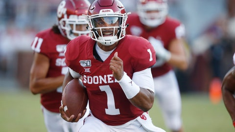<p>               Oklahoma quarterback Jalen Hurts (1) carries in the second quarter of an NCAA college football game against South Dakota Saturday, Sept. 7, 2019, in Norman, Okla. (AP Photo/Sue Ogrocki)             </p>