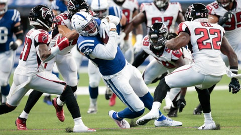 <p>               Indianapolis Colts tight end Eric Ebron (85) is tackled by Atlanta Falcons free safety Ricardo Allen (37) and strong safety Keanu Neal (22) during the first half of an NFL football game, Sunday, Sept. 22, 2019, in Indianapolis. (AP Photo/AJ Mast)             </p>