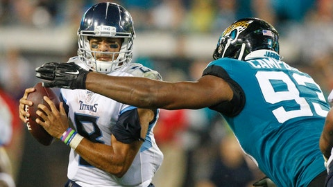 <p>               Tennessee Titans quarterback Marcus Mariota, left, looks to dodge a tackle by Jacksonville Jaguars defensive end Calais Campbell (93) during the second half of an NFL football game, Thursday, Sept. 19, 2019, in Jacksonville, Fla. (AP Photo/Stephen B. Morton)             </p>