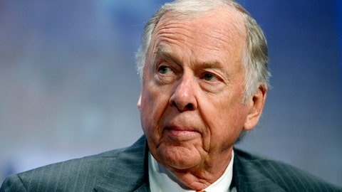 <p>               FILE - In this Sept. 25, 2018, file photo, billionaire energy magnate T. Boone Pickens, chairman of BP Capital Management, participates in the opening plenary at the Clinton Global Initiative annual meeting New York. Pickens, a brash and quotable oil tycoon who grew even wealthier through corporate takeover attempts, died Wednesday, Sept. 11, 2019. He was 91.  (AP Photo/Jason DeCrow, File)             </p>