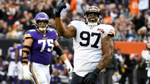 <p>               Chicago Bears defensive tackle Nick Williams (97) celebrates after sacking Minnesota Vikings quarterback Kirk Cousins as Vikings' Brian O'Neill (75) watches during the second half of an NFL football game Sunday, Sept. 29, 2019, in Chicago. (AP Photo/Matt Marton)             </p>