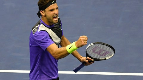 <p>               Grigor Dimitrov, of Bulgaria, reacts after scoring a point against Daniil Medvedev, of Russia, during the men's singles semifinals of the U.S. Open tennis championships Friday, Sept. 6, 2019, in New York. (AP Photo/Sarah Stier)             </p>