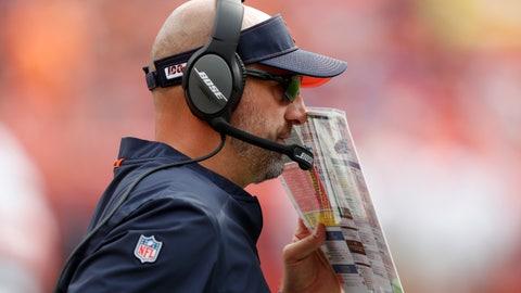 <p>               Chicago Bears head coach Matt Nagy makes a call against the Denver Broncos during the first half of an NFL football game, Sunday, Sept. 15, 2019, in Denver. (AP Photo/David Zalubowski)             </p>