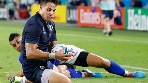<p>               Scotland's Sean Maitland scores a try during the Rugby World Cup Pool A game at Kobe Misaki Stadium between Scotland and Samoa in Kobe, western Japan, Monday, Sept. 30, 2019. (Kyodo News via AP)             </p>