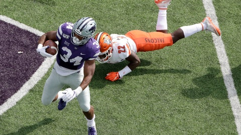 <p>               Kansas State running back James Gilbert (34) gets past Bowling Green defensive back Melvin Jackson III (22) during the first half of an NCAA college football game Saturday, Sept. 7, 2019, in Manhattan, Kan. (AP Photo/Charlie Riedel)             </p>