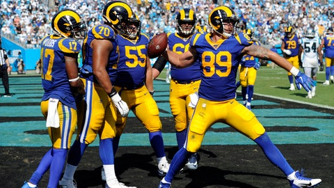 <p>               Los Angeles Rams tight end Tyler Higbee (89) spikes the football following his touchdown against the Carolina Panthers during the second half of an NFL football game in Charlotte, N.C., Sunday, Sept. 8, 2019. (AP Photo/Mike McCarn)             </p>