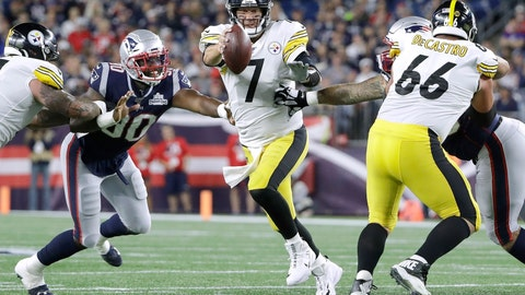 <p>               Pittsburgh Steelers quarterback Ben Roethlisberger (7) tries to scramble away from New England Patriots linebacker Shilique Calhoun (90) in the second half of an NFL football game, Sunday, Sept. 8, 2019, in Foxborough, Mass. (AP Photo/Steven Senne)             </p>