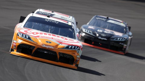 <p>               NASCAR Xfinity Series driver Kyle Busch drives into turn one during the NASCAR Xfinity auto race at the Indianapolis Motor Speedway, Saturday, Sept. 7, 2019 in Indianapolis. (AP Photo/Darron Cummings)             </p>