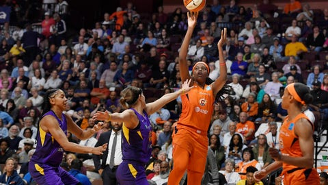 <p>               Connecticut Sun's Jonquel Jones shoots over Los Angeles Sparks' Sydney Wiese during the second half of Game 2 of a WNBA basketball playoff game Thursday, Sept. 19, 2019, in Uncasville, Conn. (AP Photo/Jessica Hill)             </p>