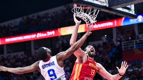<p>               Spain's Marc Gasol, right competes with Puerto Rico's Gary Browne, left during a group C match for the FIBA Basketball World Cup 2019 in Guangzhou in southern China's Guangdong province on Monday, Sept. 2, 2019. (AP Photo)             </p>