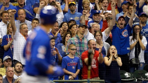 <p>               Fans react as Chicago Cubs' Anthony Rizzo draws a bases-loaded walk to score a run during the eighth inning of a baseball game against the Milwaukee Brewers, Saturday, Sept. 7, 2019, in Milwaukee. (AP Photo/Aaron Gash)             </p>