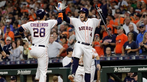 <p>               Houston Astros' Robinson Chirinos (28) celebrates with George Springer (4) after hitting a two-run home run against the Oakland Athletics during the first inning of a baseball game Monday, Sept. 9, 2019, in Houston. (AP Photo/David J. Phillip)             </p>