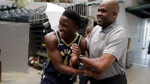 <p>               Indiana Pacers' Victor Oladipo jokes with head coach Nate McMillan during the NBA basketball team's media day, Friday, Sept. 27, 2019, in Indianapolis. (AP Photo/Darron Cummings)             </p>