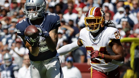 <p>               Dallas Cowboys wide receiver Devin Smith makes a catch and goes on to score against Washington Redskins cornerback Josh Norman (24) in the first half of an NFL football game, Sunday, Sept. 15, 2019, in Landover, Md. (AP Photo/Evan Vucci)             </p>