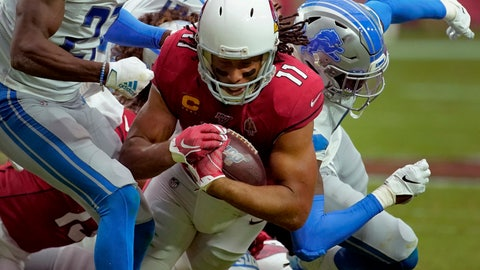 <p>               Arizona Cardinals wide receiver Larry Fitzgerald (11) makes a catch against the Detroit Lions during the second half of an NFL football game, Sunday, Sept. 8, 2019, in Glendale, Ariz. (AP Photo/Rick Scuteri)             </p>