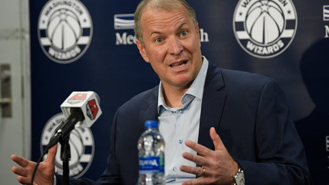 <p>               Washington Wizards general manager Tommy Sheppard speaks at an NBA basketball press conference, Thursday, Sept. 26, 2019, in Washington. (AP Photo/Nick Wass)             </p>