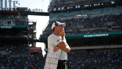 <p>               Washington Redskins head coach Jay Gruden watches from the sideline during the second half of an NFL football game against the Philadelphia Eagles, Sunday, Sept. 8, 2019, in Philadelphia. (AP Photo/Matt Rourke)             </p>