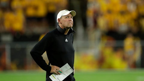 <p>               Sacramento State coach Troy Taylor watches the clock during the first half of the team's NCAA college football game Arizona State, Friday, Sept. 6, 2019, in Tempe, Ariz. (AP Photo/Matt York)             </p>