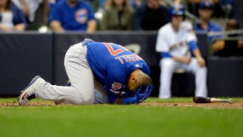 <p>               Chicago Cubs' Addison Russell falls to the ground after being hit by a pitch during the third inning of a baseball game against the Milwaukee Brewers, Sunday, Sept. 8, 2019, in Milwaukee. (AP Photo/Aaron Gash)             </p>