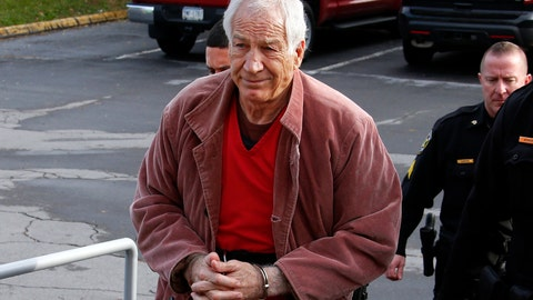 <p>               FILE - In this Oct. 29, 2015, file photo, former Penn State University assistant football coach Jerry Sandusky arrives at the Centre County Courthouse in Bellefonte, Pa., for a hearing about his appeal. Judge John Foradora, handling the pending re-sentencing of Sandusky, is recusing himself, citing an unspecified recent action by the attorney general's office. (AP Photo/Gene J. Puskar, File)             </p>