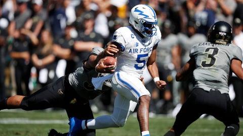 <p>               Air Force quarterback Donald Hammond III, center, drives for a short gain as Colorado safety Sam Noyer, left, and safety Derrion Rakestraw cover in the second half of an NCAA college football game Saturday, Sept. 14, 2019, in Boulder, Colo. Air Force won 30-23 in overtime. (AP Photo/David Zalubowski)             </p>