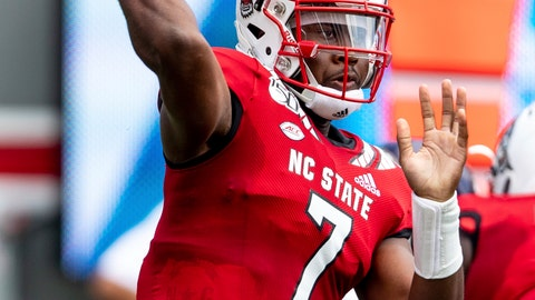 <p>               North Carolina State's Matthew McKay makes a throw during the first half of an NCAA college football game against Western Carolina in Raleigh, N.C., Saturday, Sep 7, 2019. (AP Photo/Ben McKeown)             </p>