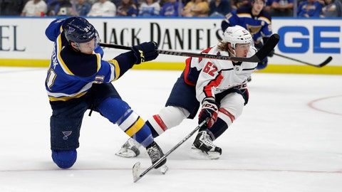 <p>               St. Louis Blues' Tyler Bozak, left, scores past Washington Capitals' Carl Hagelin, of Sweden, during the second period of an NHL preseason hockey game Friday, Sept. 27, 2019, in St. Louis. (AP Photo/Jeff Roberson)             </p>