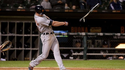 <p>               Detroit Tigers Gordon Beckham (29) breaks his bat on a single during the sixth inning of game two of a baseball doubleheader against the Chicago White Sox, Saturday, Sept. 28, 2019, in Chicago. (AP Photo/Mark Black)             </p>