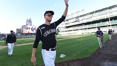 <p>               Colorado Rockies starting pitcher Kyle Freeland, center, waves to the crowd after a win over the Milwaukee Brewers in 13 innings of a baseball game Sunday, Sept. 29, 2019, in Denver. (AP Photo/John Leyba)             </p>