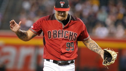<p>               Arizona Diamondbacks' Taijuan Walker claps as he comes off the mound during the first inning of a baseball game against the San Diego Padres, Sunday, Sept. 29, 2019, in Phoenix. Walker made his first appearance on a major league mound since April 14, 2018. (AP Photo/Darryl Webb)             </p>