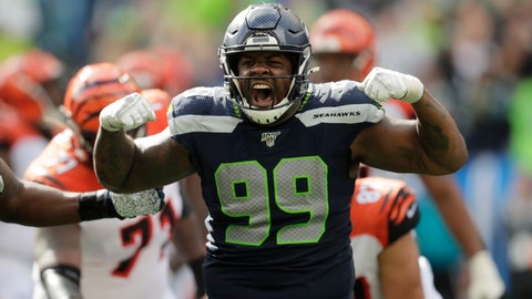 <p>               Seattle Seahawks defensive tackle Quinton Jefferson (99) reacts after he sacked Cincinnati Bengals quarterback Andy Dalton during the second half of an NFL football game Sunday, Sept. 8, 2019, in Seattle. (AP Photo/Stephen Brashear)             </p>