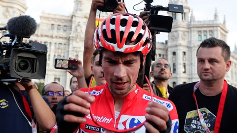 <p>               Primoz Roglic reacts after winning La Vuelta cycling race in Madrid, Spain, Sunday, Sept. 15, 2019. (AP Photo/Manu Fernandez)             </p>